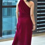 Royal Pink High-slit One-shoulder sleeveless Gown