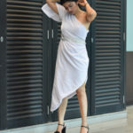 White One-shoulder Petal Dress