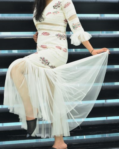 Off-white Frill Dress