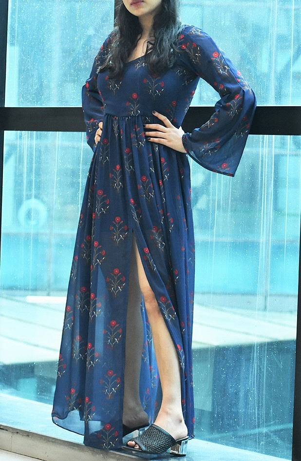 Printed Blue Dress with Sleeves