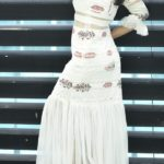 Off-white long Sheer dress with Frilled sleeves